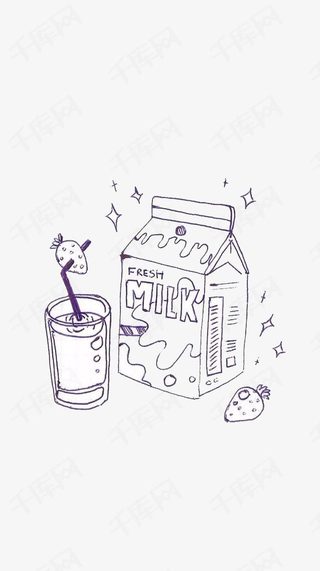 手绘早餐手绘早餐牛奶果汁