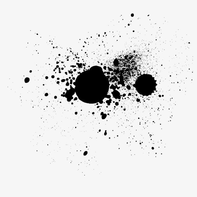 矢量迸溅黑色圆形墨水滴