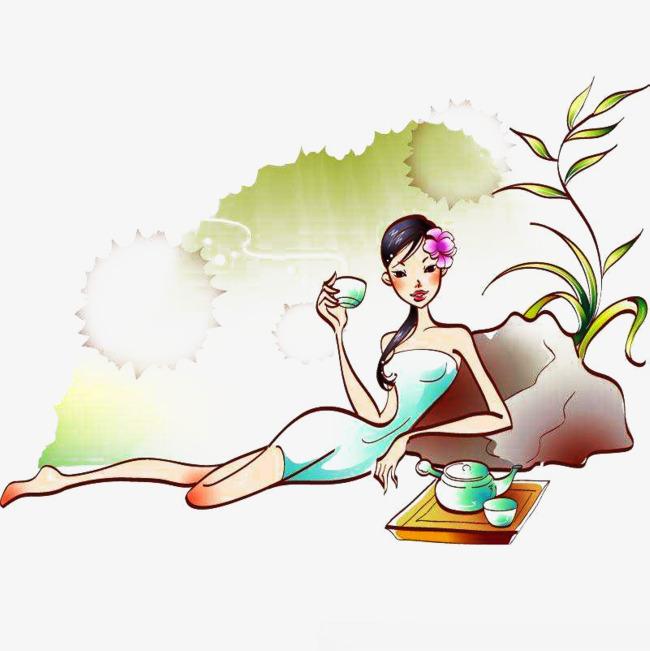 美女躺着喝茶图片素材
