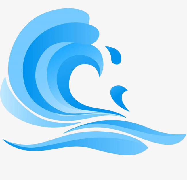 蓝色手绘扁平海浪