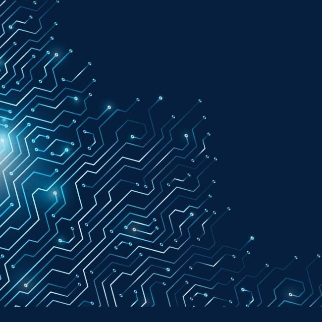 浅蓝色 电路 折现 科技元素             此素材是90设计网官方设计