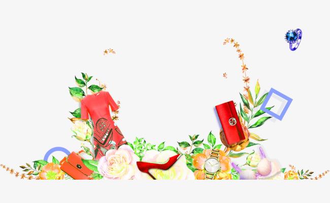 手绘花朵服装鞋子装饰图案