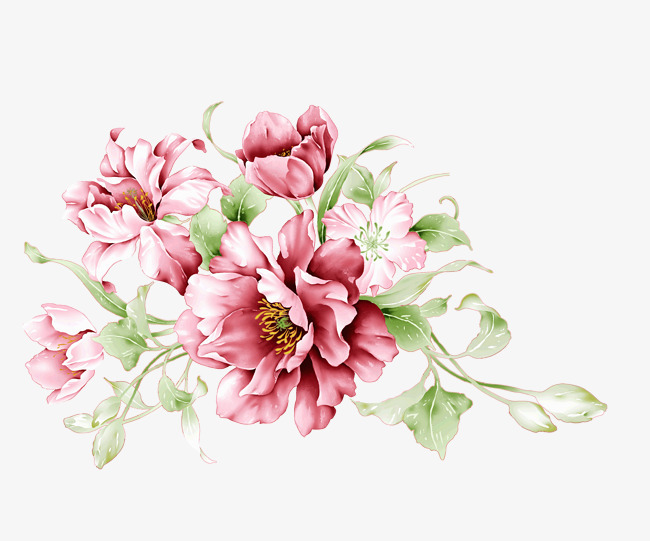 粉色小清新手绘花朵装饰图案