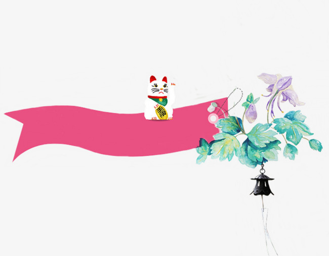 招财猫和风铃手绘插画