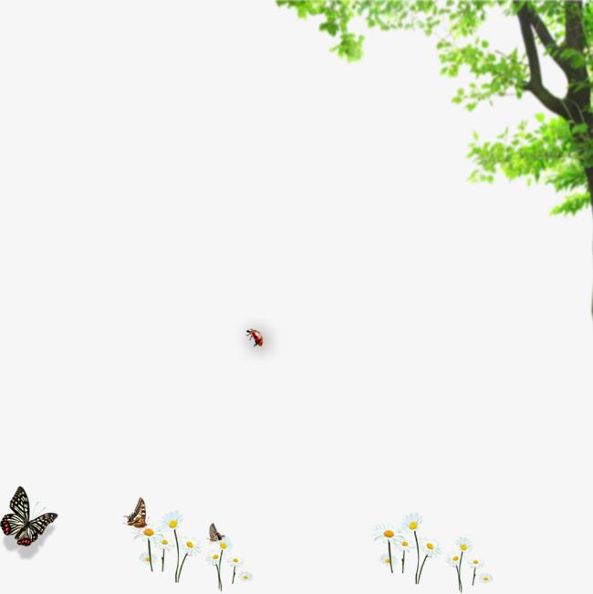 手绘树木花朵蝴蝶素材