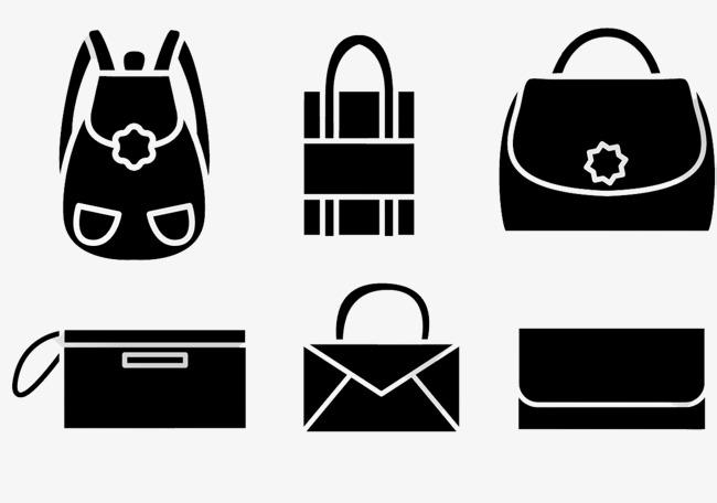 小清新行李包图标黑色图标合集旅游手拿包化妆包产品实物女士包包家