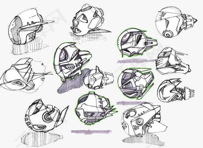 黑白手绘机器人素材图片免费下载 高清卡通手绘psd 千库网 图片编号7401685