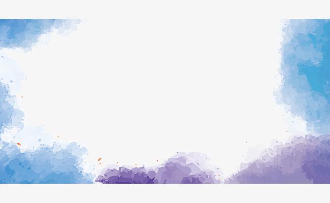 水彩手绘蓝天白云边框
