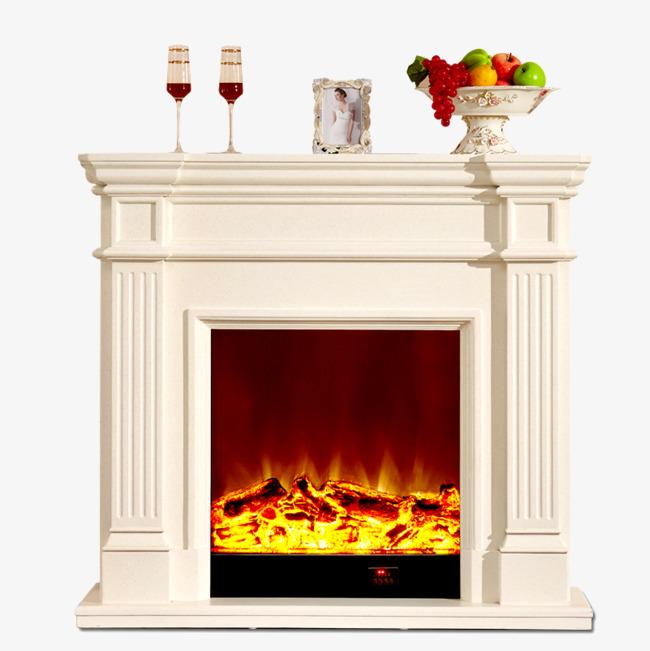 白色欧式壁炉炉火素材