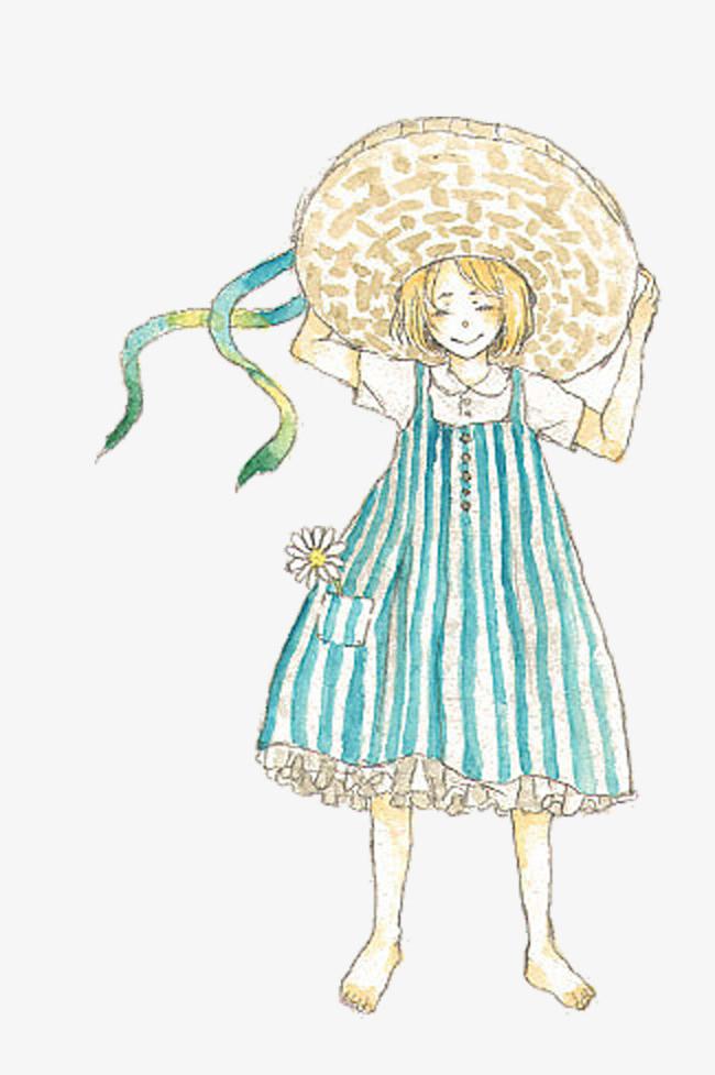 卡通手绘戴大帽子的女孩子