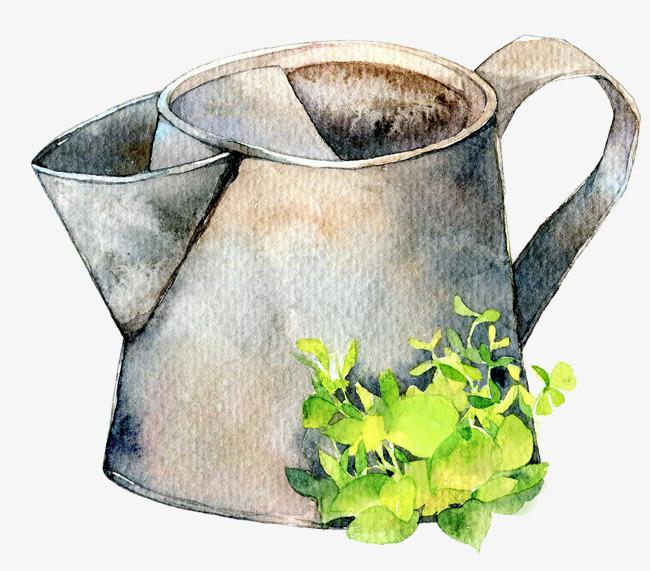 手绘水彩浇水壶