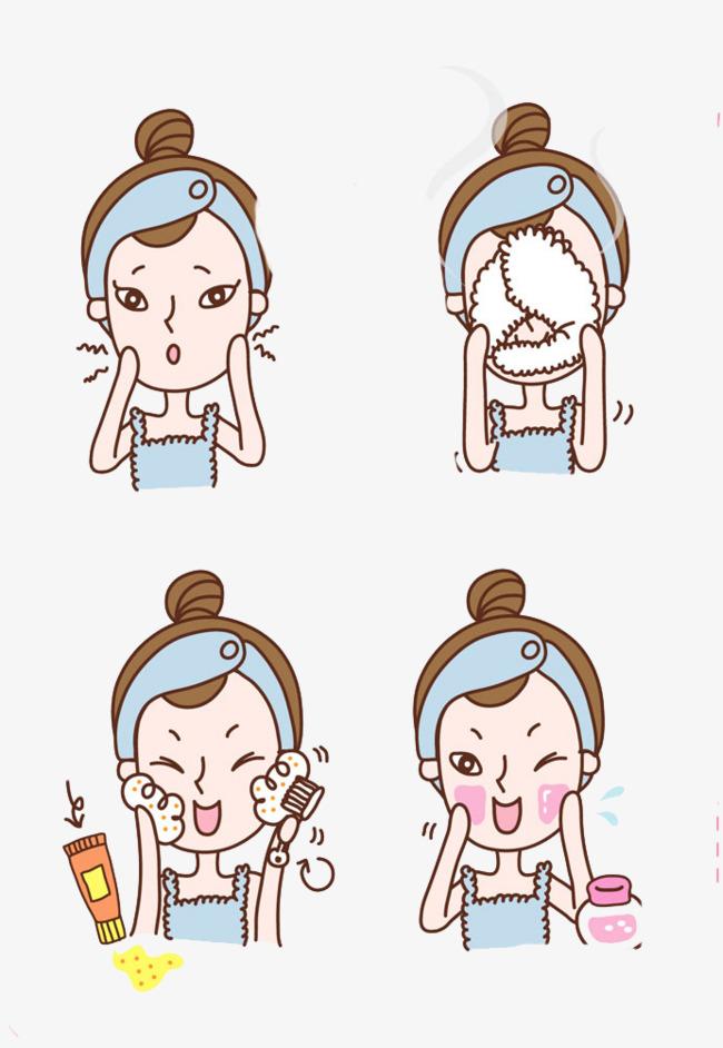 图片 装饰元素 > 【png】 洗脸小步骤