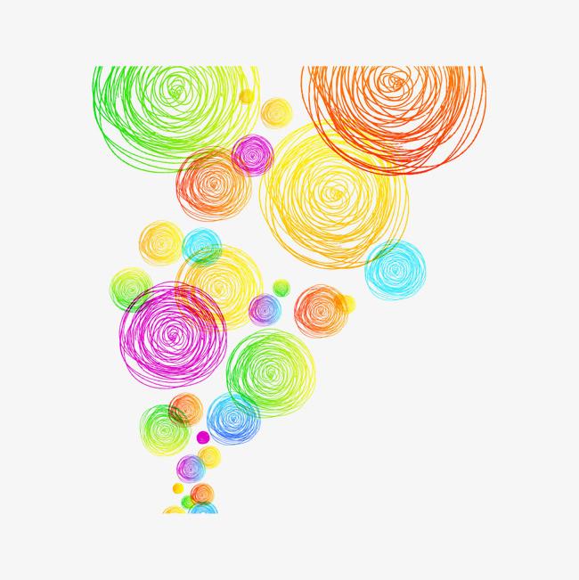彩色手绘线描圆圈图案