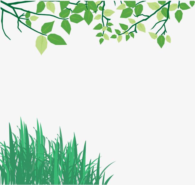 手绘绿色草树枝背景矢量图
