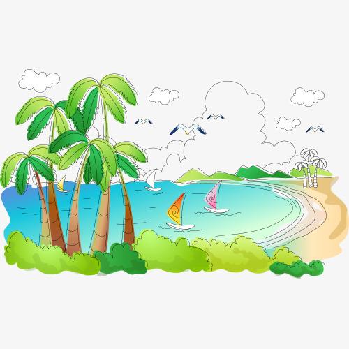 手绘沙滩海洋图片