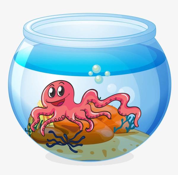 卡通鱼缸里的章鱼图片