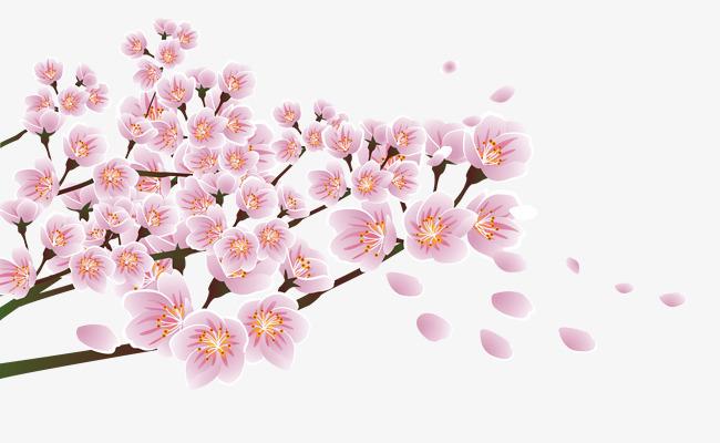粉色手绘桃花树枝装饰图案