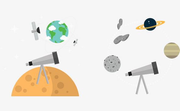 矢量手绘天文望远镜