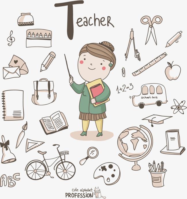 教师节卡通女老师涂鸦简笔画矢量