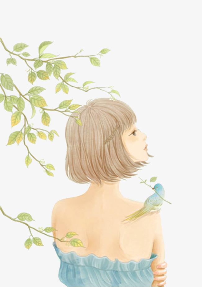 图片 > 【png】 手绘小清新少女背影  分类:手绘动漫 类目:其他 格式