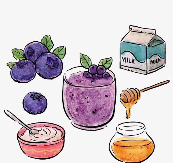 牛奶蜂蜜和蓝莓熊果苷平面手绘图