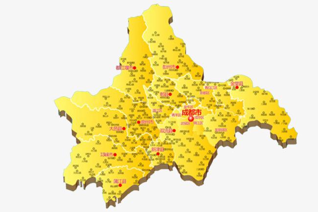 黄色立体成都地图图片