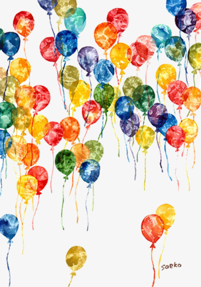 手绘彩色气球素材