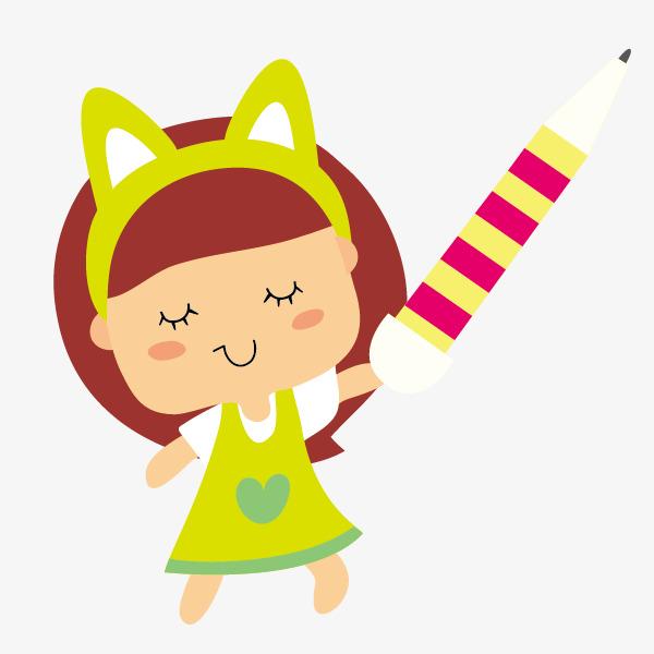 手绘卡通可爱小女孩免抠素材