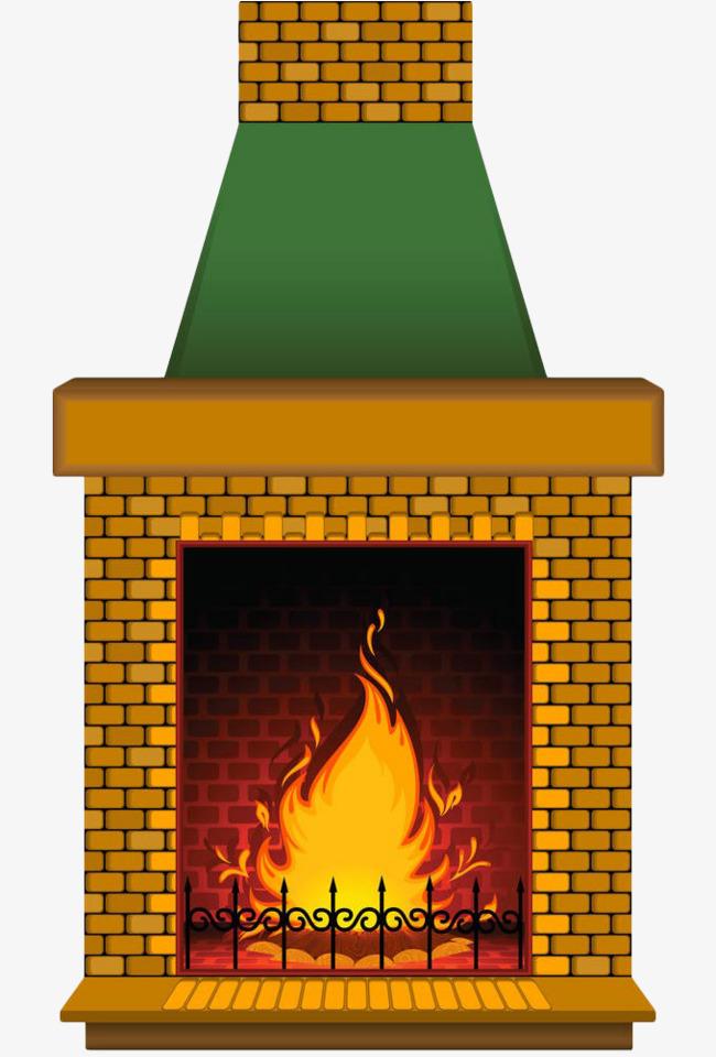 手绘金色欧式壁炉篝火
