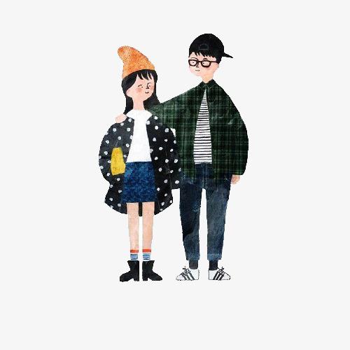 手绘卡通_手绘情侣png素材-90设计