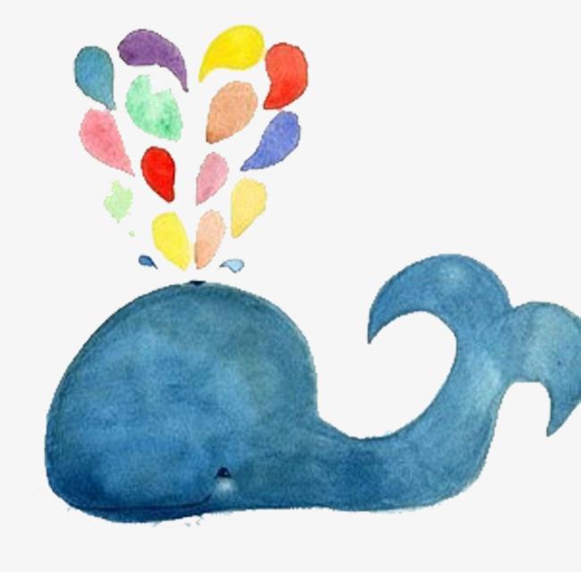 水彩手绘蓝色鲸鱼