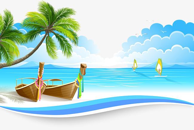手绘小船帆船海边风景矢量图【高清装饰元素png素材】