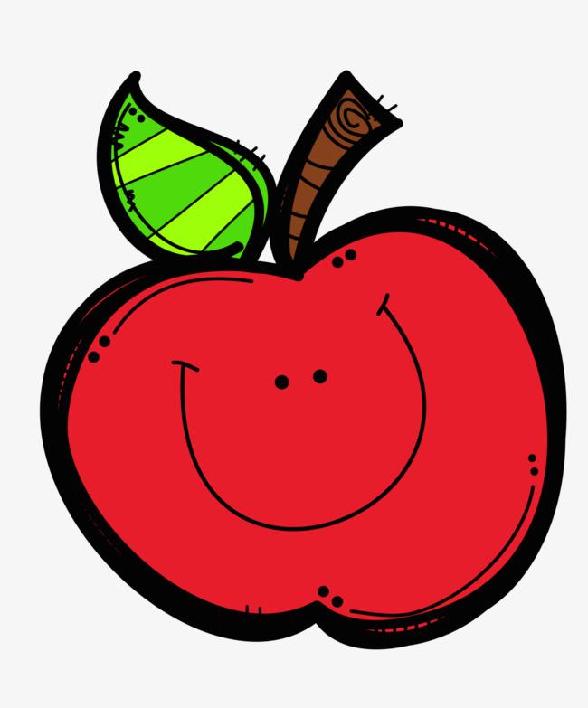 红色卡通笑脸苹果png素材-90设计