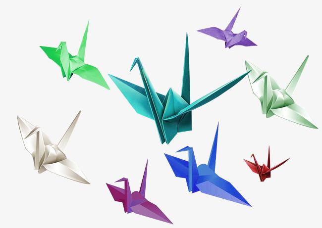 多彩简约千纸鹤装饰图案