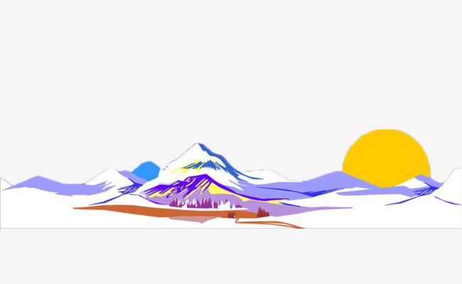 手绘彩色自然山体