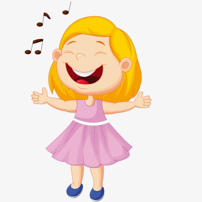 卡通可爱唱歌小女孩素材图片免费下载_高清卡通手绘png_千库网(图片图片
