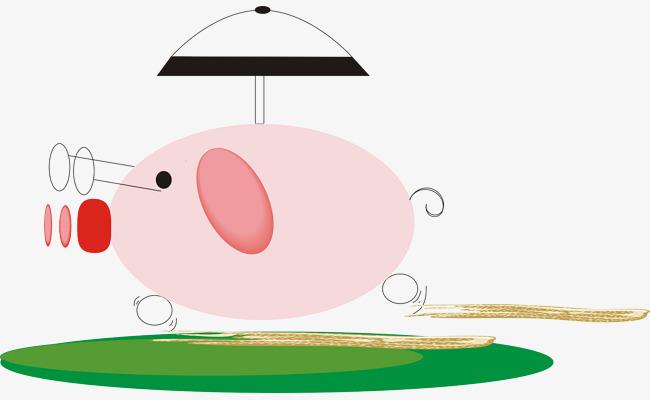 矢量卡通可爱小猪素材