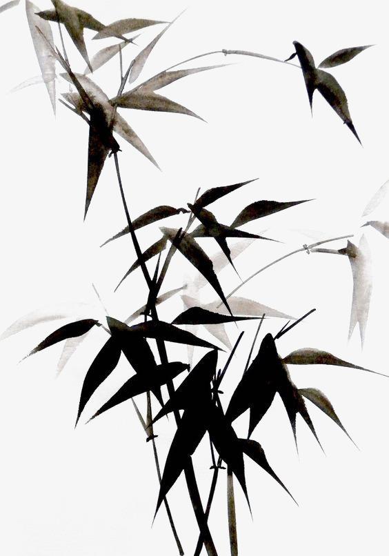 黑色竹子水墨画图片