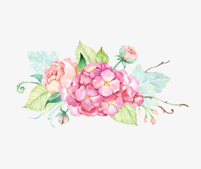 手绘唯美粉色鲜花