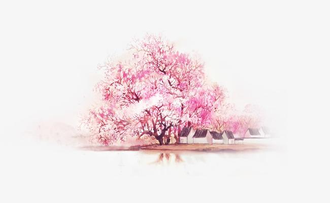 手绘水彩粉色桃花树