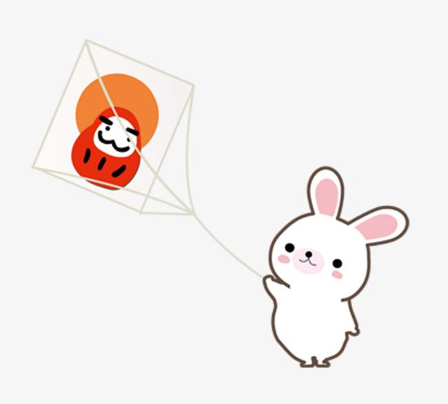 图片 > 【png】 可爱小白兔放风筝  分类:手绘动漫 类目:其他 格式