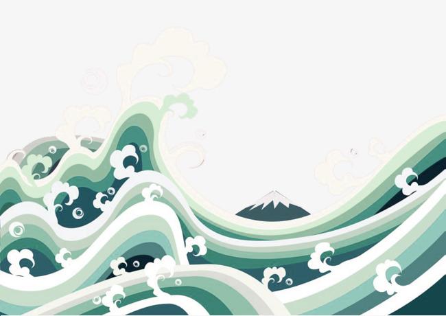 绿色简约海浪边框纹理