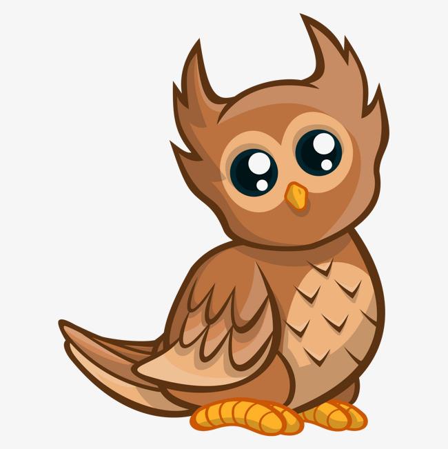 矢量卡通手绘可爱小猫头鹰
