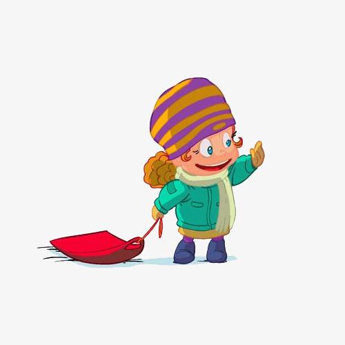 手绘雪橇男孩素材