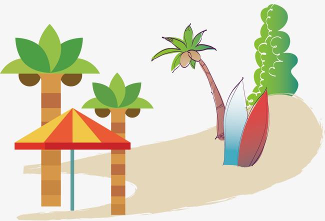 椰子树太阳伞海滩