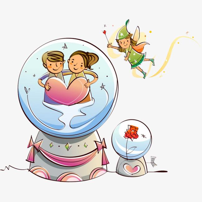 卡通爱情情侣水晶球图片