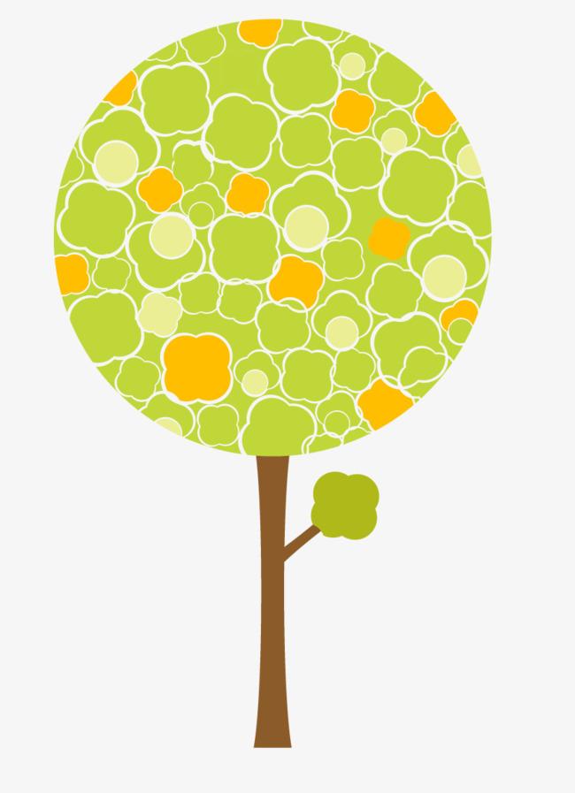 绿色卡通圆形树木