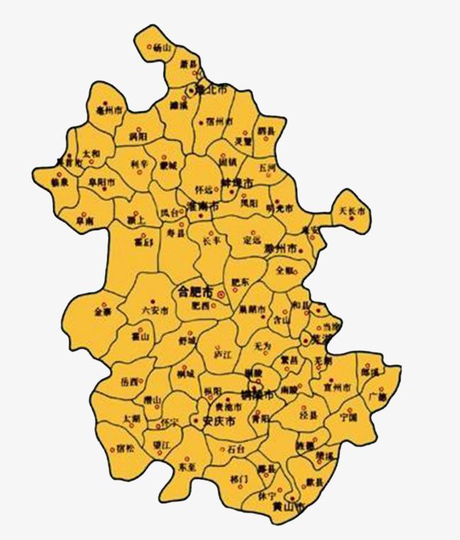 橘黄色安徽地图
