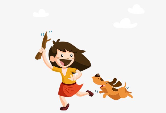 卡通手绘女孩小狗
