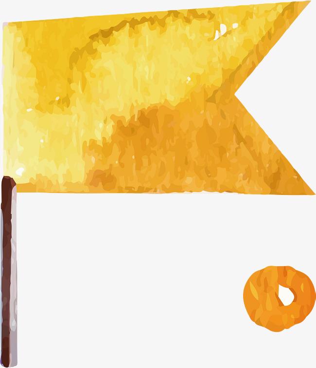 水彩黄色旗子